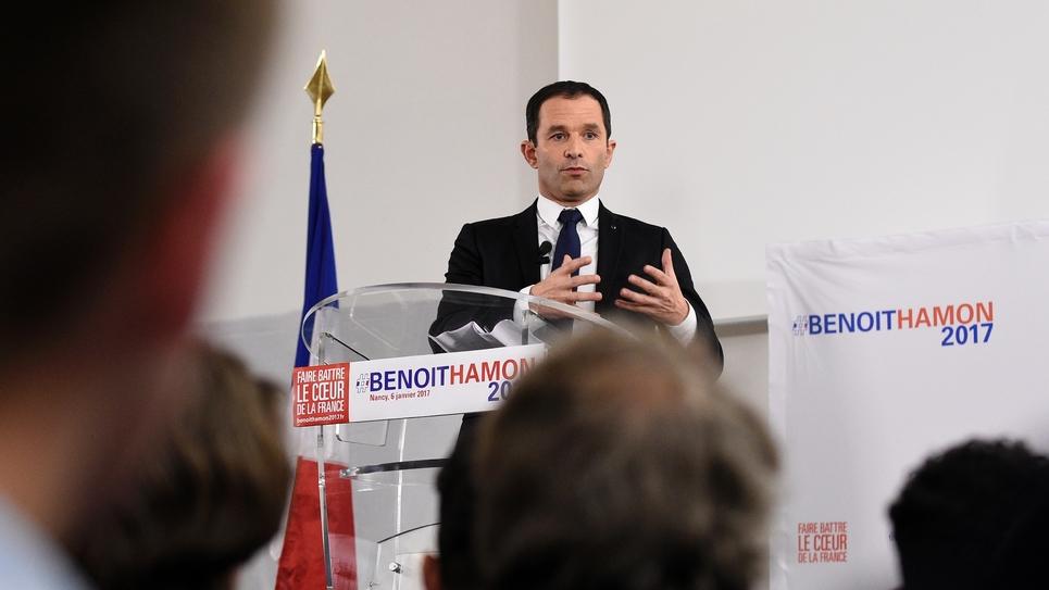 Benoît Hamon, candidat à la primaire initiée par le PS, le 6 janvier 2017 à Nancy