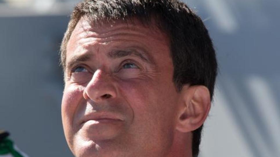 Manuel Valls à bord du porte-avions Charles de Gaulle près de Toulon, le 15 août 2014