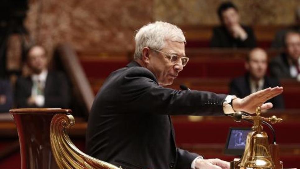 Le président de l'Assemblée nationale Claude Bartolone en séance à Paris, le 24 mars 2015