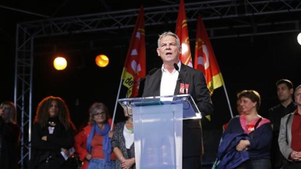 Le secrétaire général de la CGT, Thierry Lepaon s'exprime lors d'une manifestation à Paris, le 16 octobre 2014