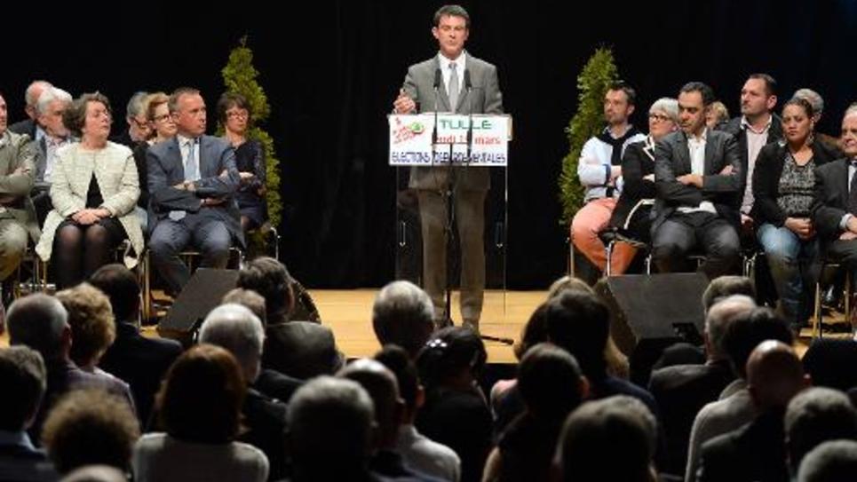 Le Premier ministre Manuel Valls à Tulle le 19 mars 2015