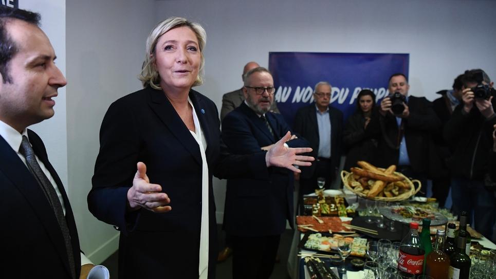 Marine Le Pen lors de la présentation des voeux du FN à la presse, le 4 janvier 2017.