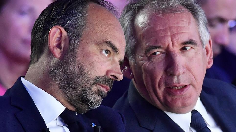 Le Premier ministre Edouard Philippe (G) et le président du MoDem François Bayrou, le 8 septembre 2019 à Bordeaux