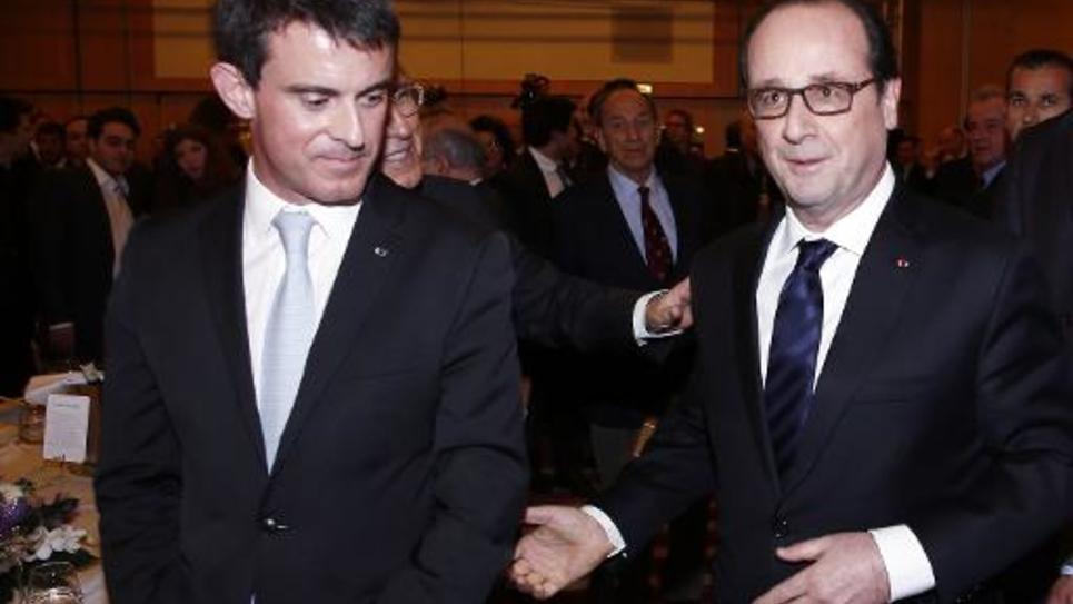 Francois Hollande et Manuel Valls au dîner du Conseil Representatif des Institutions juives de France à Paris le 23 février 2015