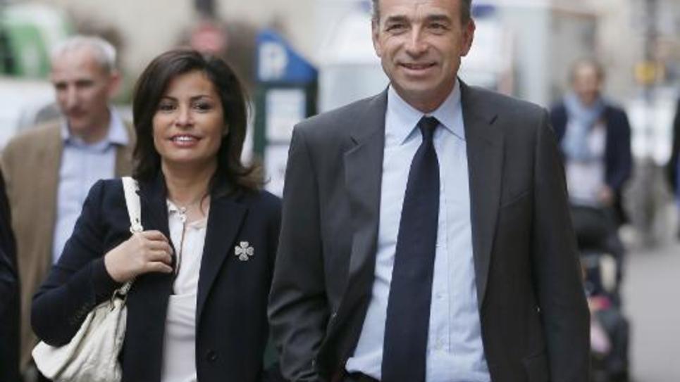 Nadia Copé et son époux Jean-François arrivent au siège de l'UMP, le 30 mars 2014 à Paris