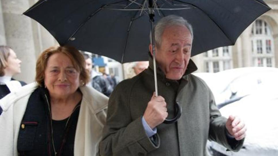 L'ancien maire de Paris Jean Tiberi et son épouse Xavière le 12 mars 2013 à Paris