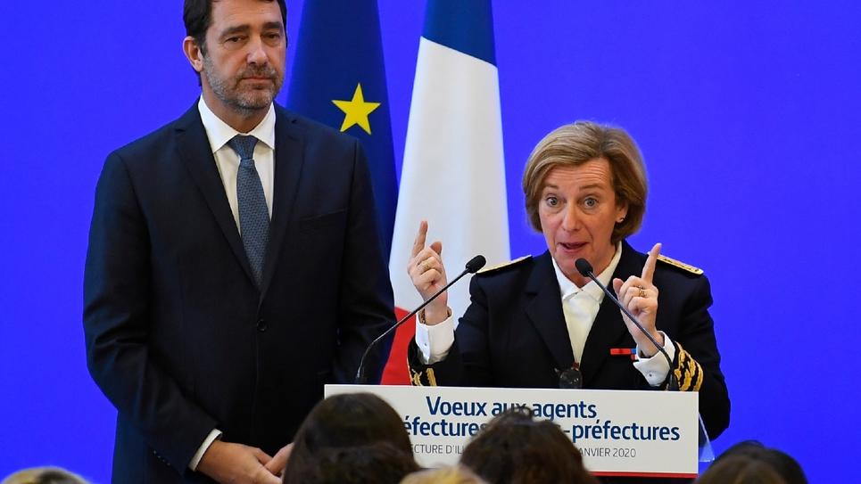 Le ministre de l'Intérieur Christophe Castaner (G), en déplacement à Rennes le 20 janvier 2020
