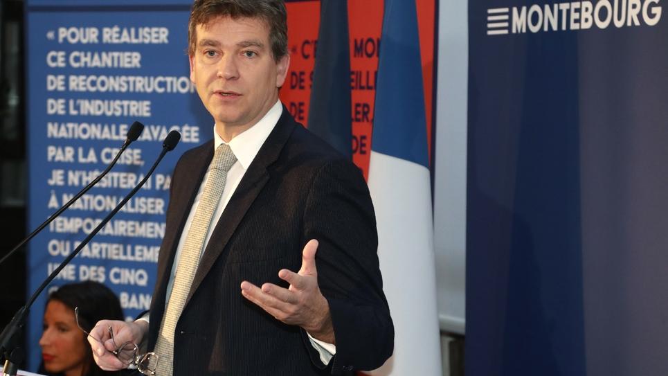 Arnaud Montebourg, candidat à la primaire organisée par le PS, le 4 janvier 2017 lors de la présentation de son programme économique et pour l'emploi, à Paris