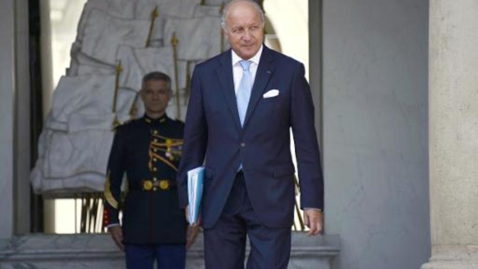 Laurent Fabius quitte l'Elysée, le 20 août 2014 à Paris