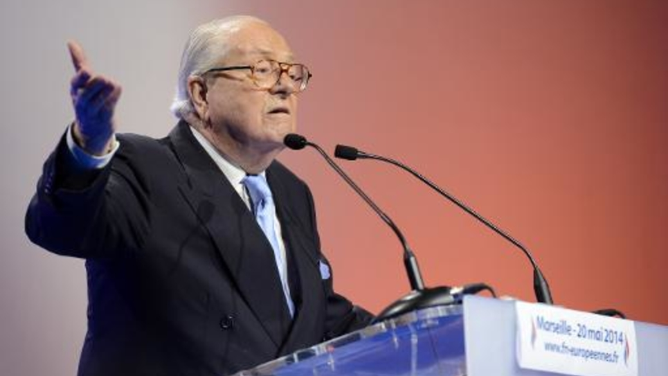 Jean-Marie Le Pen lors d'une réunion publique le 20 mai 2014 à Marseille