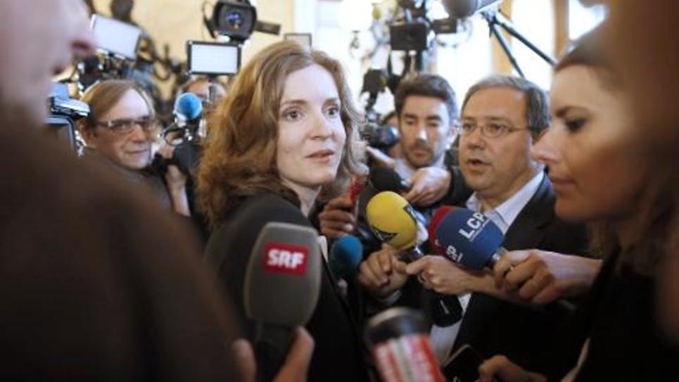 Nathalie Kosciusko-Morizet entourée de journalistes à l'issue du bureau politique de l'UMP le 25 mai 2014 à Paris