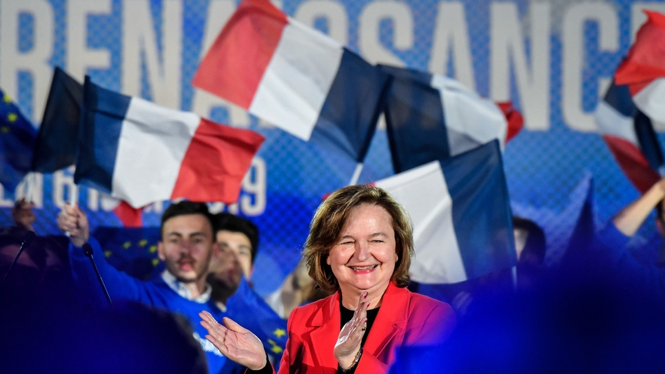 Nathalie Loiseau, tête de liste LREM pour les élections européennes, lors d'un meeting, le 6 mai 2019 à Caen