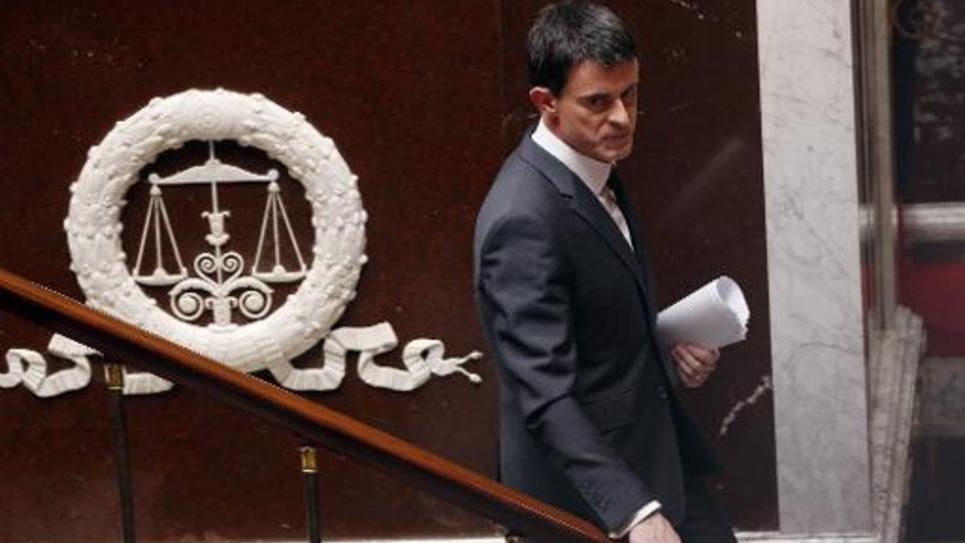 Le Premier ministre Manuel Valls après son discours sur le renseignement le 13 avril 2015 à l'Assemblée nationale à Paris
