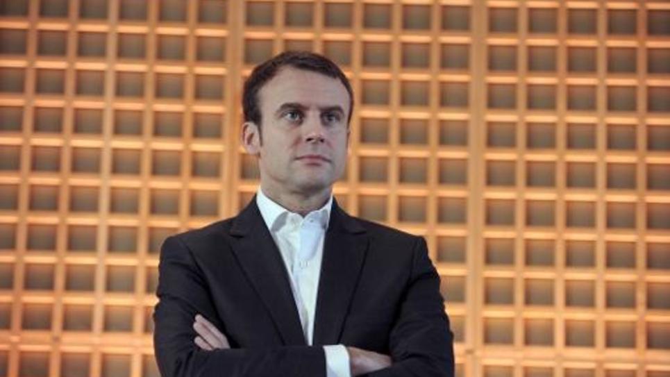 Le ministre de l'Economie Emmanuel Macron lors des voeux à la presse le 29 janvier 2015 à Paris