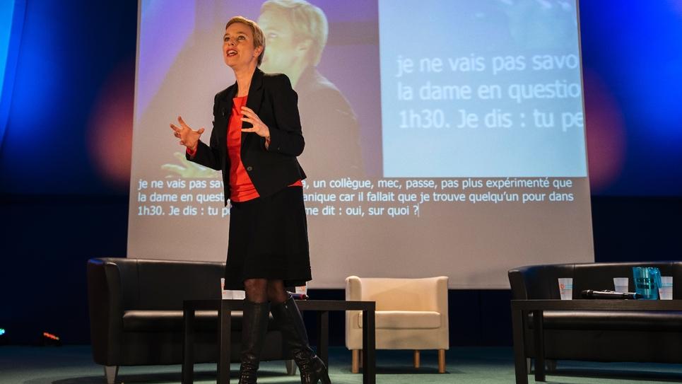 Clémentine Autain de La France Insoumise lors d'un meeting à Bobigny, le 7 mars 2019