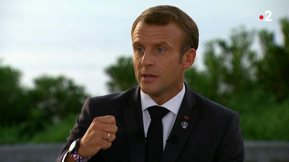 Capture d'écran de l'entretien télévisé d'Emmanuel Macron diffusé sur France 2 le 26 août 2019