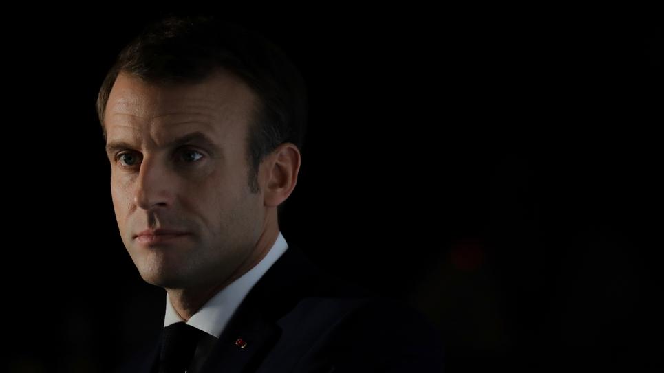 Le président de la République Emmanuel Macron lors d'une conférence de presse à Lyon le 10 octobre 2019, à l'issue de la conférence de refinancement du Fonds mondial de lutte contre le sida, la tuberculose et le paludisme