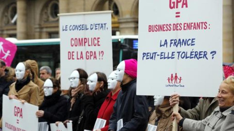 """Des participants à """"La Manif Pour Tous"""" devant le Conseil d'Etat le 12 décembre 2014 à Paris"""