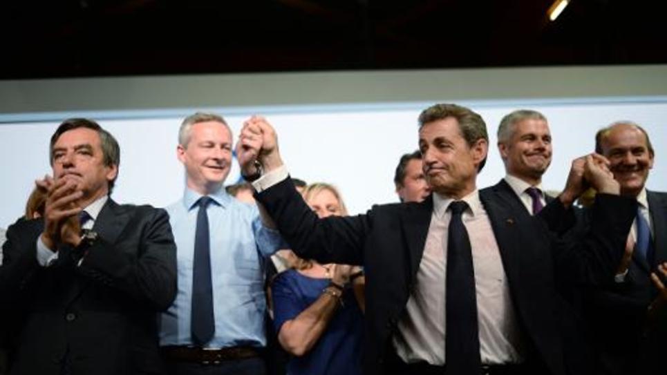 Bruno Le Maire derriere François Fillon et Nicolas Sarkozy lors du congrès fondateur des Républicains à Paris
