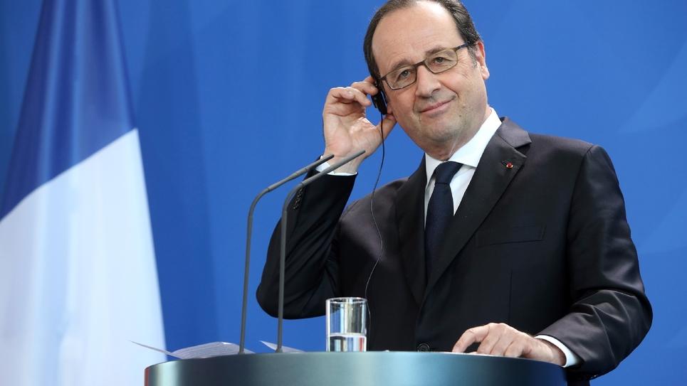 François Hollande lors d'une conférence de presse avec Angela Merkel à Berlin le 27 janvier 2017