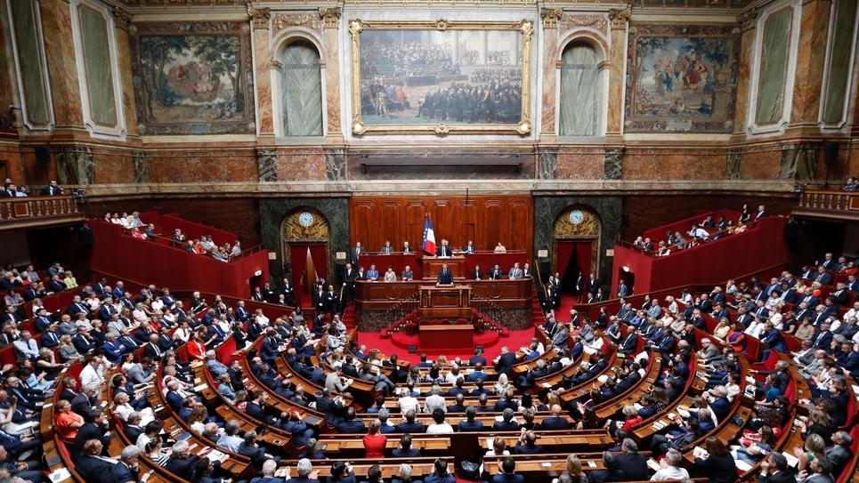 Emmanuel Macron devant le parlement réuni à Versailles, le 9 juillet 2018