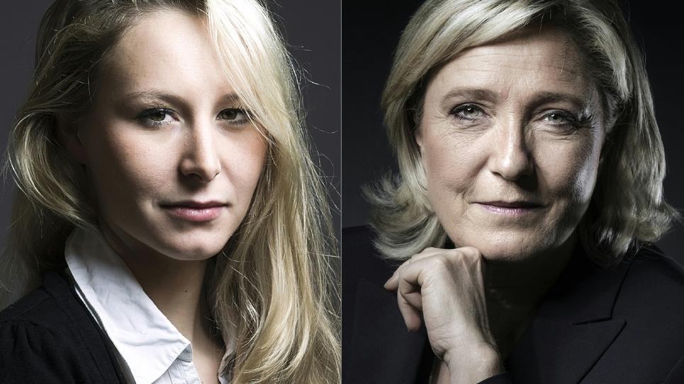 Montage photo représentant Marion Marechal-Le Pen (g) et sa tante Marine Le Pen