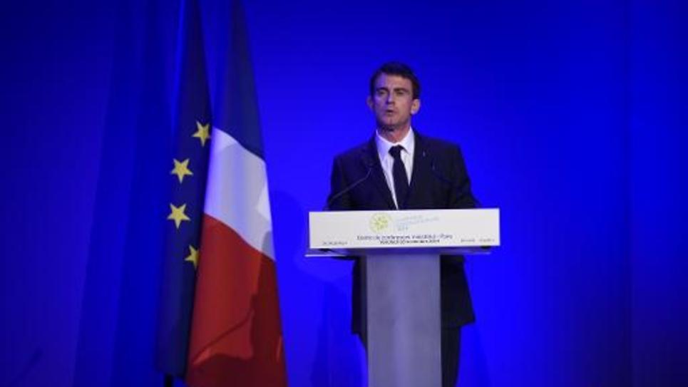 Le Premier ministre Manuel Valls lors du discours de clôture de la Conférence environnementale à Paris le 28 novembre 2014