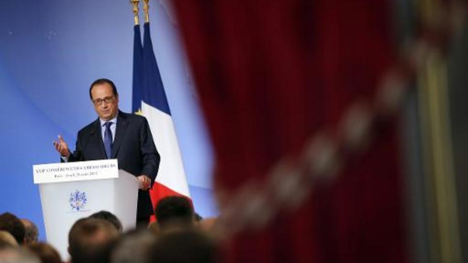 Le président français François Hollande lors de la conférence annuelle des ambassadeurs français, au Palais de l'Elysée le 28 août 2014