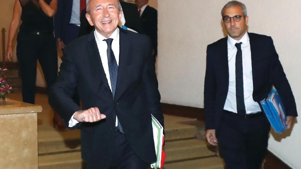 Gérard Collomb arrivant devant la Commmission des Lois du Sénat le 24 juillet 2018