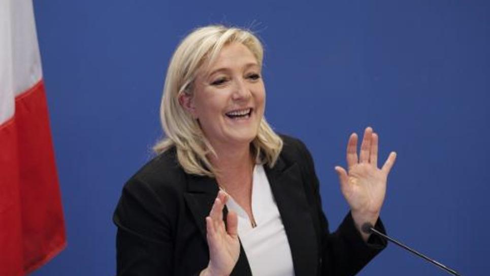La présidente du Front National Marine Le Pen lors d'une conférence de presse le 16 janvier 2015 à Nanterre