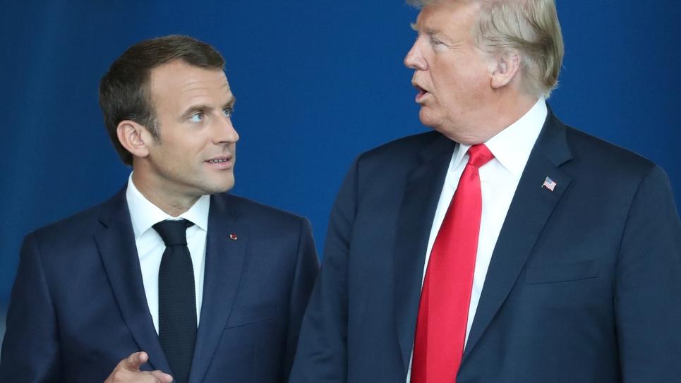 Emmanuel Macron (g) et Donald Trump (d) à Bruxelles, le 11 juillet 2018