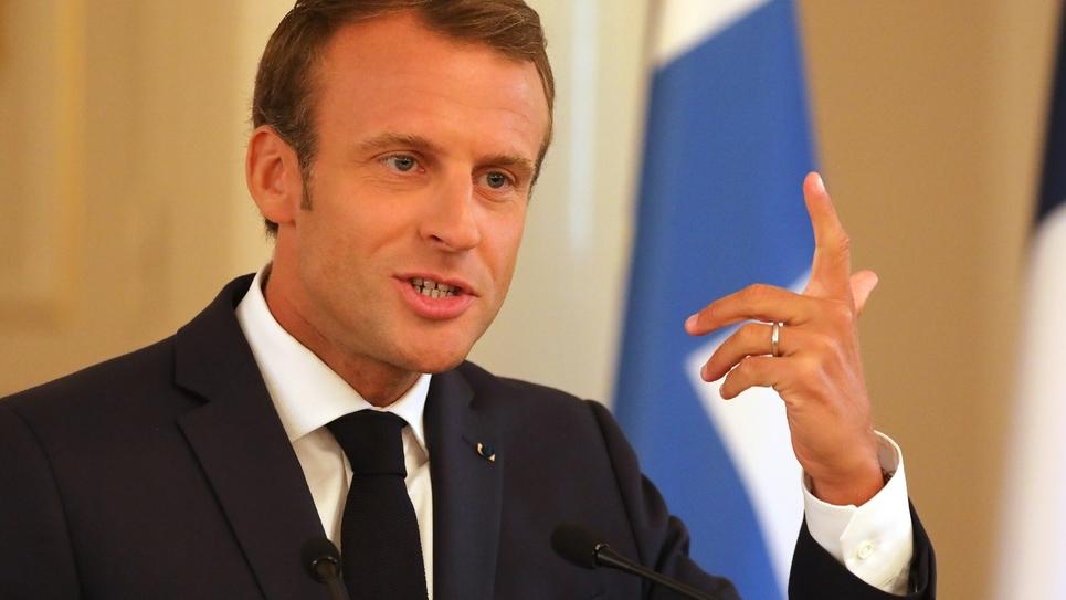 Emmanuel Macron donne une conférence de presse à Helsinki, le 30 août 2018