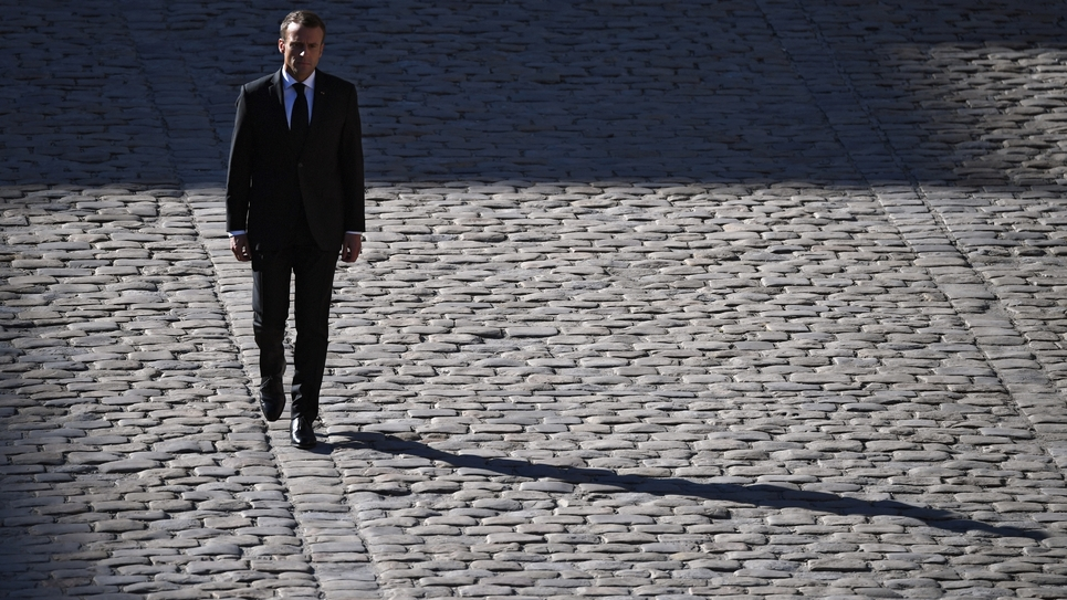 Le président Emmanuel Macron aux Invalides, le 5 octobre 2018 à Paris