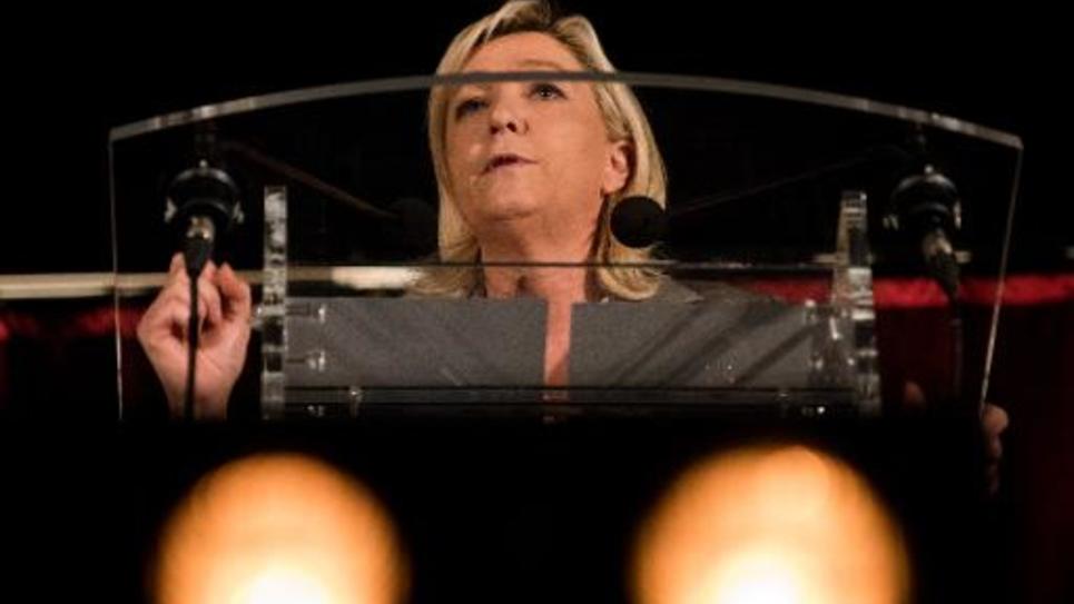 La présidente du FN Marine Le Pen à Hénin Beaumont, le 25 mars 2015