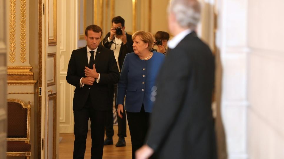 Le président Emmanuel Macron et la chancelière allemande Angela Merkel à l'Elysée, le 13 octobre 2019.