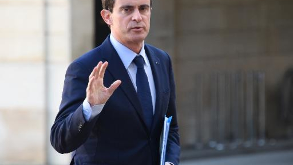 Le Premier ministre Manuel Valls à son arrivée le 11 janvier 2015 à l'Elysée à Paris