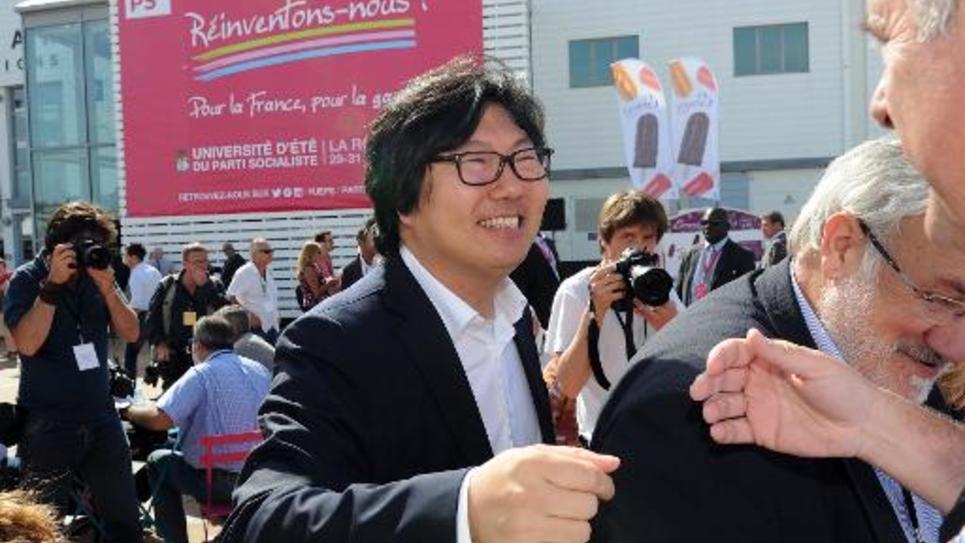 Jean-Vincent Placé à son arrivée à l'université d'été du PS le 29 août 2014 à La Rochelle