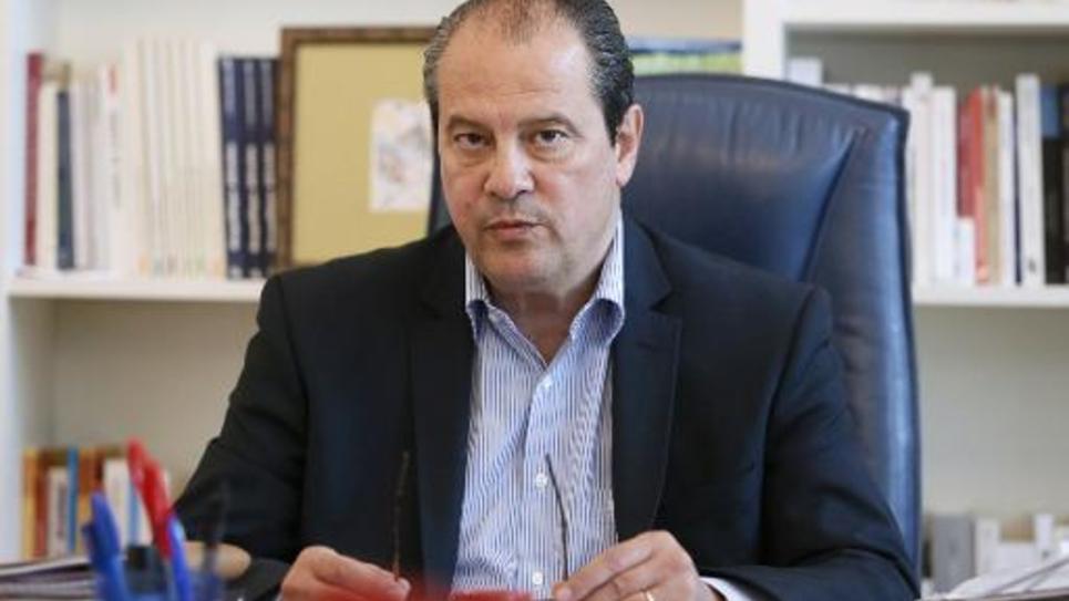 Jean-Christophe Cambadelis dans son bureau le 5 septembre 2014 à Paris