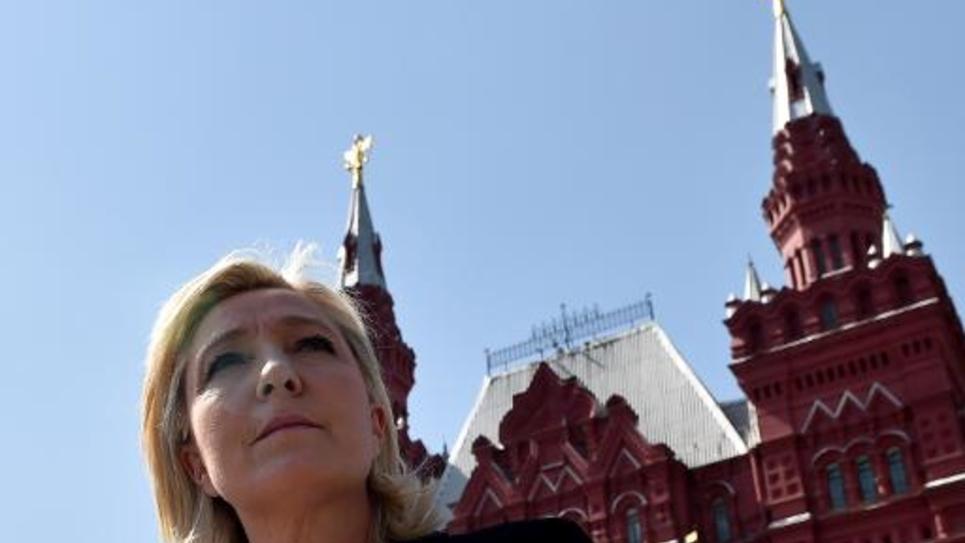 La présidente du Front national, Marine Le Pen, sur la Place Rouge à Moscou avant de rencontrer Sergueï Narychkine, le président de la Douma, le 26 mai 2015
