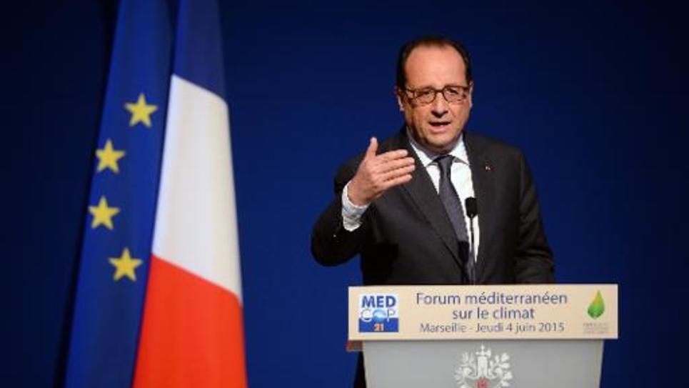 François Hollande, le 4 juin 2015 à Marseille à l'ouverture du Forum sur le climat (MedCop21)