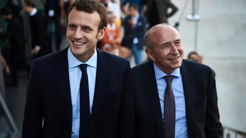 Emmanuel Macron et Gérard Collomb photographiés ensemble en septembre 2016 à Lyon à l'occasion d'un colloque