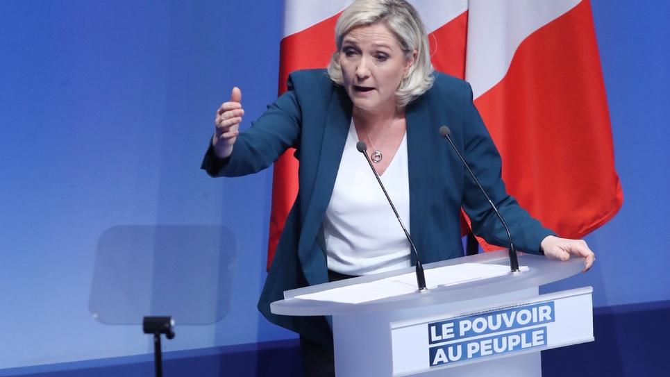 Marine Le Pen lors d'un meeting pour le lancement de la compagne du Rassemblement national aux élections européennes de mai 2019, le 13 janvier 2019 à Paris
