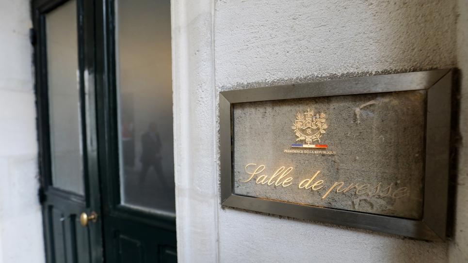 La plaque indiquant l'entrée de la salle de presse de l'Elysée, le 30 octobre 2018