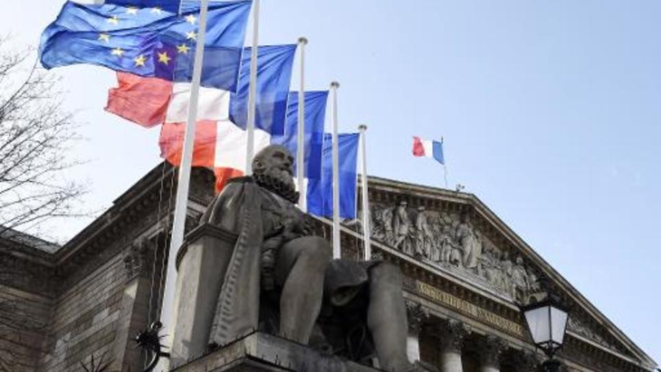 La facade de l'Assemblée nationale, le 4 mars 2015 à Paris