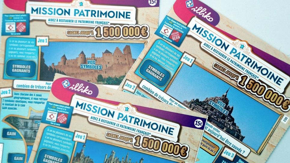 """Tickets du jeu à gratter """"Mission patrimoine"""", prise le 30 mai 2018 au siège de la Française des Jeux (FDJ) à Boulogne-Billancourt"""