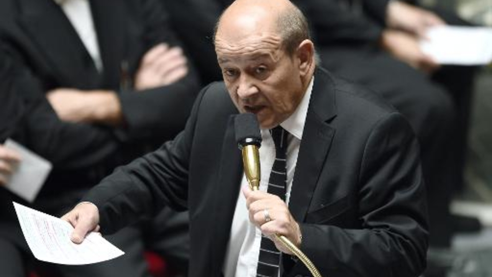 Le ministre de la Défense Jean-Yves Le Drian le 21 octobre 2014 à l'Assemblée nationale à Paris