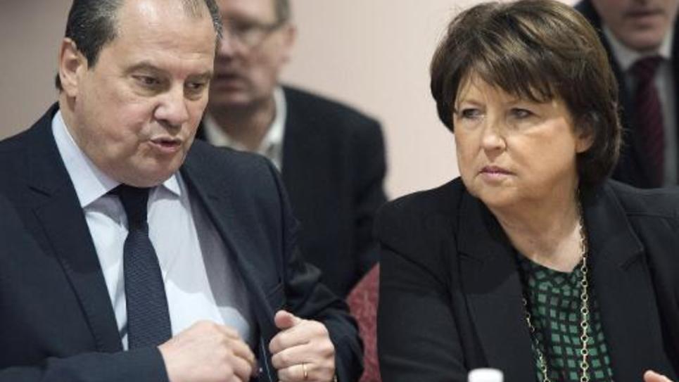 Le premier secrétaire du PS Jean-Christophe Cambadélis et la maire de Lille Martine Aubry le 23 janvier 2015 à Lille