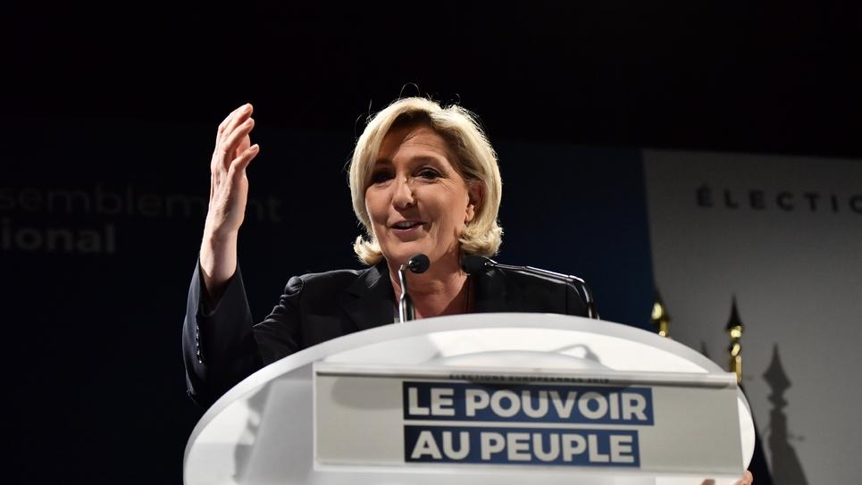 Marine Le Pen, président du Rassemblement National (RN), lors d'un meeting pour les élections européennes, le 22 mars 2019 à Roquevaire, dans les Bouches-du-Rhône