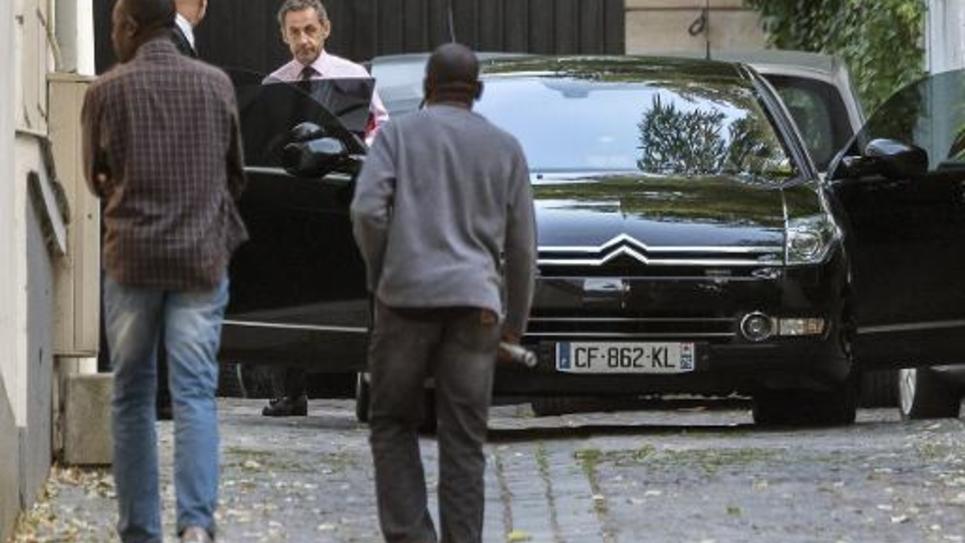 Nicolas Sarkozy à la sortie de son domicile le 16 septembre 2014 à Paris