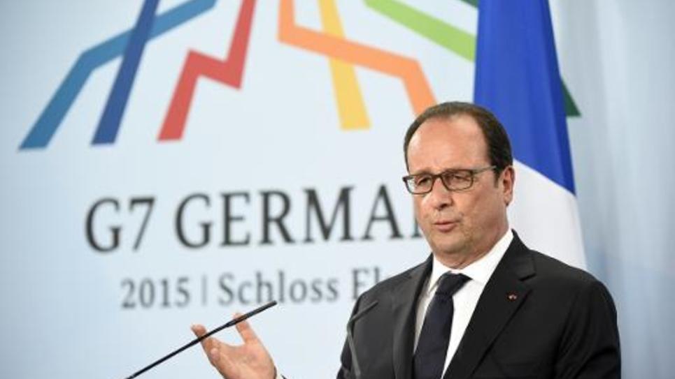 Le président François Hollande lors d'une conférence de presse à l'issue du sommet du G7, le 8 juin 2015